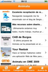 Aplicación iPhone del blog de Animatu. 15