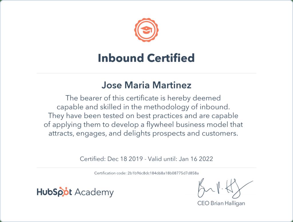 inbound marketing certificacion marketing digital